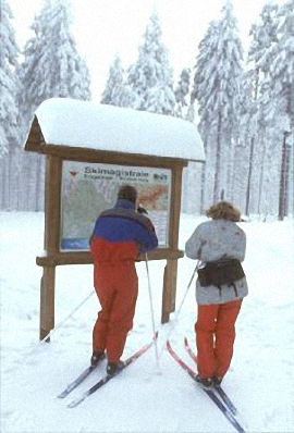 Information board with map of the Erzgebirge/Krušné hory ski trail